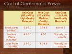 cost of geothermal power