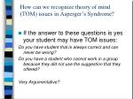how can we recognize theory of mind tom issues in asperger s syndrome