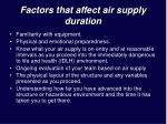 factors that affect air supply duration