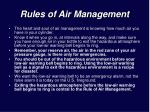 rules of air management