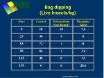 bag dipping live insects kg