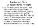 bowles and gintis correspondence principle