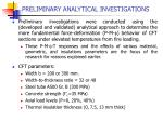 preliminary analytical investigations