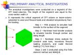 preliminary analytical investigations13