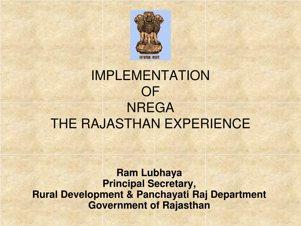 implementation of nrega the rajasthan experience l.