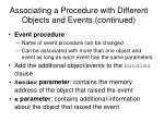 associating a procedure with different objects and events continued16