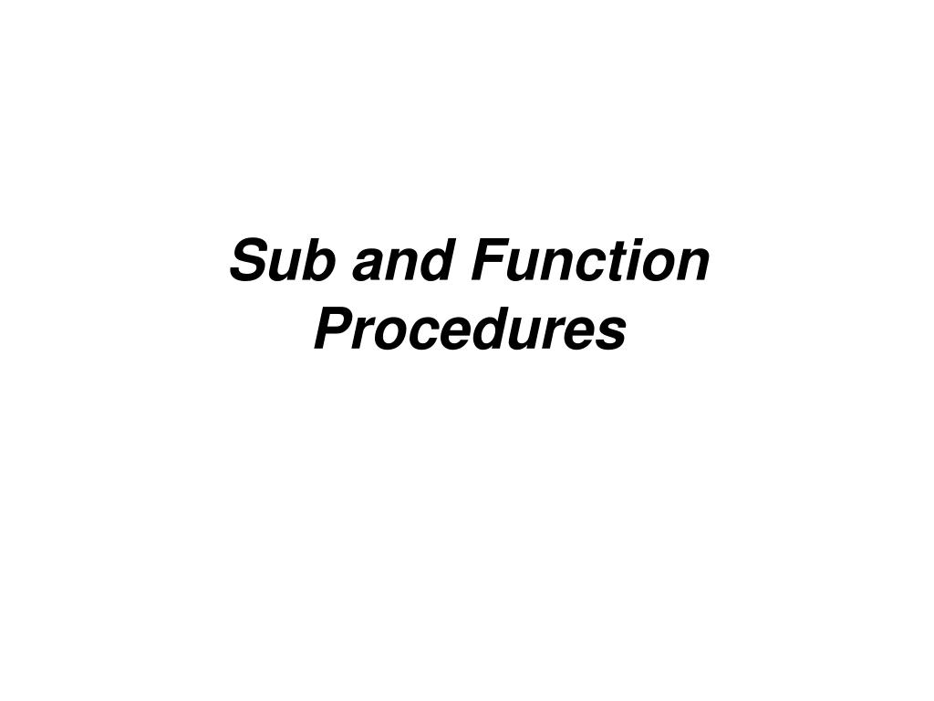 sub and function procedures l.