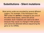 substitutions silent mutations