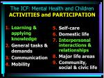 the icf mental health and children activities and participation