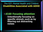the icf mental health and children disabilities associated with adhd
