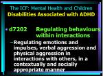 the icf mental health and children disabilities associated with adhd10