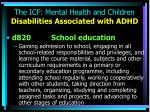 the icf mental health and children disabilities associated with adhd11