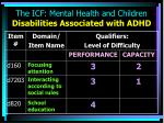 the icf mental health and children disabilities associated with adhd13