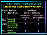 the icf mental health and children disabilities associated with adhd15