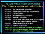 the icf mental health and children icd 10 mental and behavioural disorders