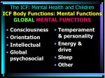 the icf mental health and children icf body functions mental functions global mental functions