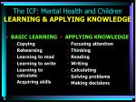 the icf mental health and children learning applying knowledge