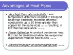 advantages of heat pipes