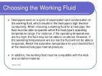 choosing the working fluid