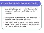 current research in electronics cooling