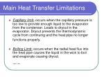 main heat transfer limitations