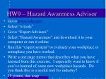 hw9 hazard awareness advisor