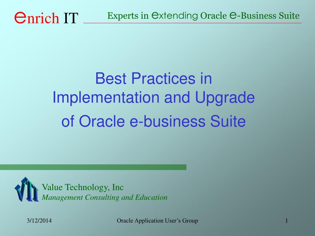 best practices in implementation and upgrade of oracle e business suite l.