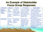 an example of stakeholder focus group responses