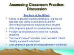 assessing classroom practice discussion