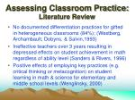 assessing classroom practice literature review