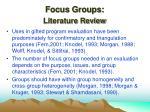 focus groups literature review