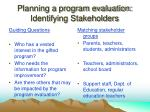 planning a program evaluation identifying stakeholders