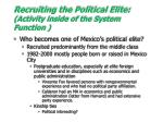 recruiting the political elite activity inside of the system function
