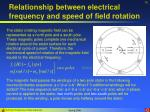 relationship between electrical frequency and speed of field rotation