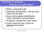 the board leadership how do you add value27