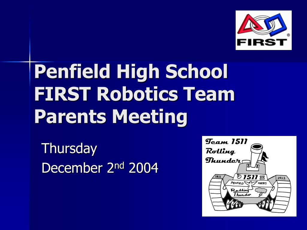 penfield high school first robotics team parents meeting l.