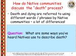 how do native communities discuss the death process