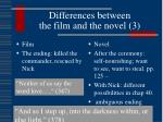 differences between the film and the novel 3