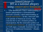 general criticism 2 ht as a national allegory using conservative feminism
