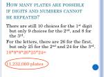 how many plates are possible if digits and numbers cannot be repeated