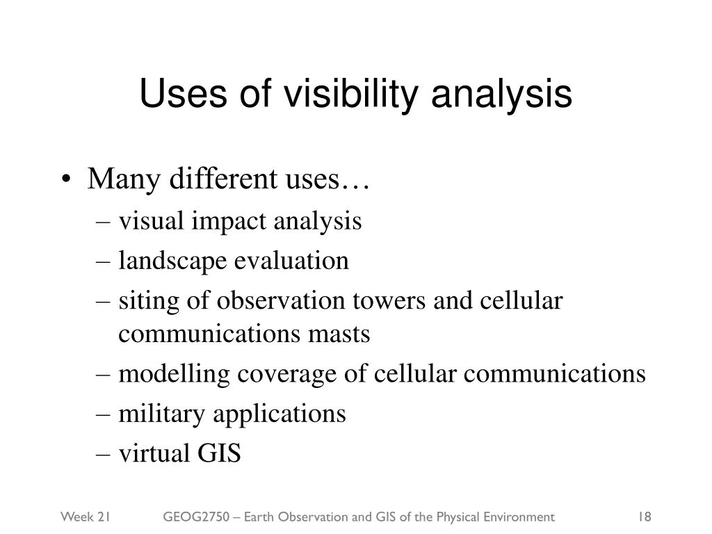 Uses of visibility analysis