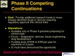 phase ii competing continuations