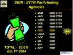 sbir sttr participating agencies