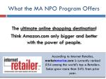 what the ma npo program offers