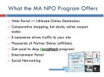 what the ma npo program offers6