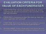 evaluation criteria for value of each fundraiser