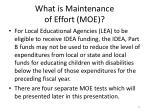 what is maintenance of effort moe