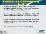 example city of johannesburg bond