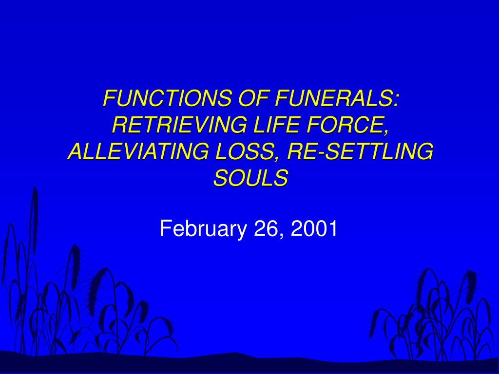 functions of funerals retrieving life force alleviating loss re settling souls l.