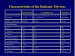 characteristics of the endemic mycoses